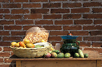 Mexican fruit and other snacks on a wooden table in ithe village of Angahuan, Michoacan, Mexico..