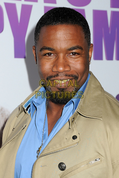 "MICHAEL JAI WHITE.""Madea's Big Happy Family"" Los Angeles Premiere held at Arclight Cinemas Cinerama Dome, Hollywood, California, USA..April 19th, 2011.headshot portrait goatee facial hair blue shirt  beige jacket .CAP/ADM/BP.©Byron Purvis/AdMedia/Capital Pictures."