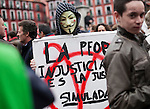 Participant dressed up like V of Vendetta during the demonstration on 1st May, Workers International Day. People march according to the call of the main Spanish work unions, UGT, CCOO and CGT. May 1, 2013 (Alterphotos/Victor Blanco)