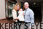 Aideen and Micheal Murphy, from Clochandubh, Baile na nGall, with baby Aoibhín, who was baptised at Carrig Church, celebrating at the Skellig Hotel, Dingle, on Saturday afternoon.