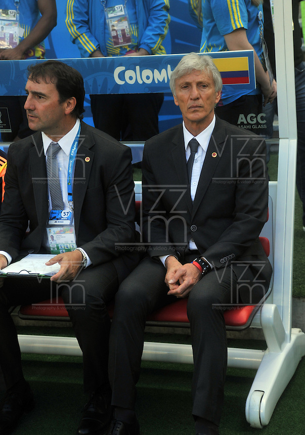 FORTALEZA - BRASIL -04-07-2014. Jose Pekerman  (Der) técnico de Colombia (COL) durante partido de los cuartos de final con Brasil (BRA) por la Copa Mundial de la FIFA Brasil 2014 jugado en el estadio Castelao de Fortaleza./ Jose Pekerman (R) coach of Colombia (COL) during the match of the Quarter Finals against Brazil (BRA) for the 2014 FIFA World Cup Brazil played at Castelao stadium in Fortaleza: Photo: VizzorImage / Alfredo Gutiérrez / Contribuidor