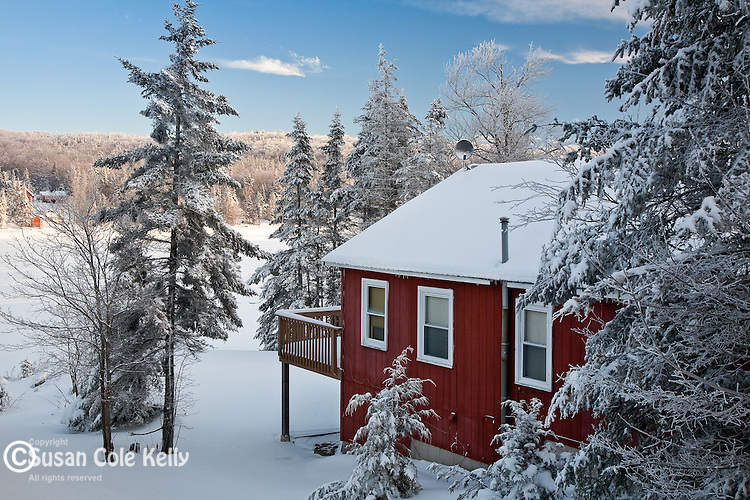 A cabin in winter on Big Pond, Woodford, VT, USA