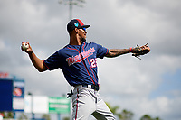 Minnesota Twins outfielder Byron Buxton (25) warms up during a Spring Training practice on February 21, 2018 at Hammond Stadium at CenturyLink Sports Complex in Fort Myers, Florida.  (Mike Janes/Four Seam Images)
