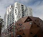 Modern architecture Nieuwe Pauluskerk, Rotterdam, Netherlands, opened June 2013 designed by British architect Will Alsop. The church is part the Calypso mixed use urban development project which includes 408 apartments, 500 covered parking spaces, and 6,500 square meters of commercial space.