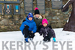 Kieran Shamsuddona, Kaylin Shamsuddona and Klarika Roosipuu from Killarney enjoying the snow last Friday.