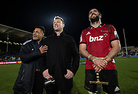 Jordan Taufua, Wyatt Crockett and Crusaders captain Sam Whitelock following the 2018 Super Rugby final between the Crusaders and Lions at AMI Stadium in Christchurch, New Zealand on Sunday, 29 July 2018. Photo: Joe Johnson / lintottphoto.co.nz