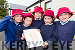 Knockanes NS pupils Abbey Cronin, Darren O'Sullivan, Aoise O'donoghue, Aoife O'Connor and Matthew Noonan-Daly with the sun hats they wear to protect them from skin cancer