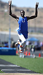 "Bishop Gorman's Demetris Morant won the men's triple jump with a distance of 46'-1/4"" during the Nevada State Track and Field Championships at Damonte High School in Reno, Nev., on Saturday, May 19, 2012. .Photo by Cathleen Allison"