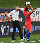 USA head coach Greg Berhalter (left) watches as Sergino Dest (18) of the United States does a throw in during an international friendly game  on September 10, 2019 at Busch Stadium in St. Louis, Missouri USA<br /> AFP Photo by Tim VIZER