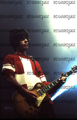 Stone Roses - guitarist John Squires performing live at the Academy in Brixton London UK - 08 Dec 1995.  Photo credit: George Chin/IconicPix