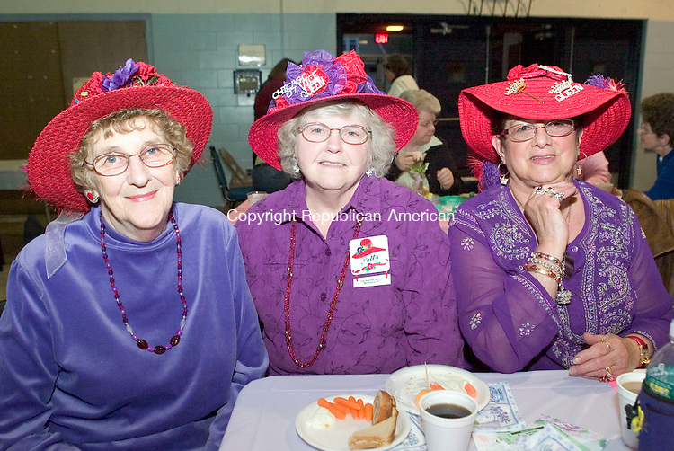 WATERBURY, CT- 02 MAY 2008- 050208JT11-<br /> From left, Red Hat Society members Mary Humiston, Patty Graham, and Nancy April of the &quot;Red Hot Honeys&quot; chapter of Waterbury during Saints Peter and Paul Development Committee's Ladie's Night Out at the school in Waterbury on Friday, May 2.<br /> Josalee Thrift / Republican-American