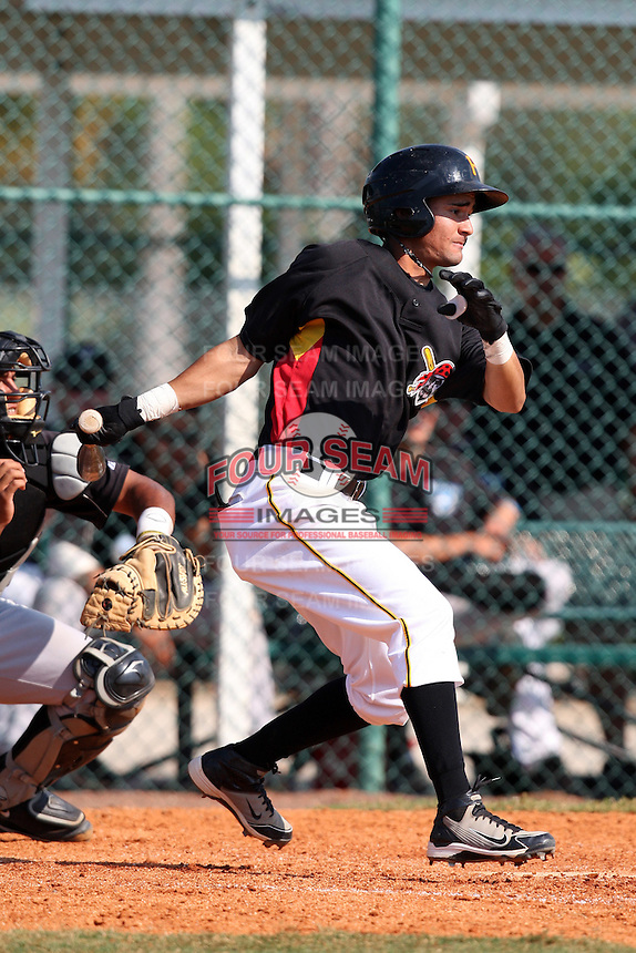 Pittsburgh Pirates minor league second baseman Francisco Aponte vs. the Toronto Blue Jays during an Instructional League game at Pirate City in Bradenton, Florida;  October 11, 2010.  Photo By Mike Janes/Four Seam Images