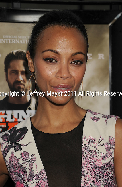"""BEVERLY HILLS, CA - SEPTEMBER 21: Zoe Saldana attends the """"Machine Gun Preacher"""" Los Angeles Premiere at the Academy of Television Arts & Sciences on September 21, 2011 in Beverly Hills, California."""