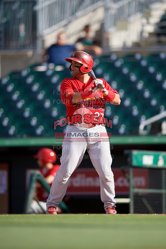 Palm Beach Cardinals catcher Jose Godoy (27) at bat during a game against the Jupiter Hammerheads on August 4, 2018 at Roger Dean Chevrolet Stadium in Jupiter, Florida.  Palm Beach defeated Jupiter 7-6.  (Mike Janes/Four Seam Images)