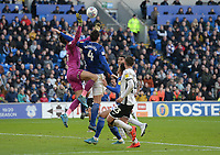 Swansea City's Freddie Woodman and Cardiff City's Sean Morrison collide during the game<br /> <br /> Photographer Ian Cook/CameraSport<br /> <br /> The EFL Sky Bet Championship - Cardiff City v Swansea City - Sunday 12th January 2020 - Cardiff City Stadium - Cardiff<br /> <br /> World Copyright © 2020 CameraSport. All rights reserved. 43 Linden Ave. Countesthorpe. Leicester. England. LE8 5PG - Tel: +44 (0) 116 277 4147 - admin@camerasport.com - www.camerasport.com
