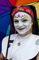 The Sisters of Perpetual Indulgence is a protest and street performance organization that uses drag and religious imagery to call attention to sexual intolerance and satirize issues of gender and morality.  At their inception in 1979, a small group of gay men in San Francisco began wearing nun attire in visible situations using high camp to draw attention to social conflicts and problems in the Castro District.The Sisters have grown throughout the U.S. and are currently organized as an international network of orders, which are mostly non-profit charity organizations that raise money for AIDS, LGBT-related causes, and mainstream community service organizations, while promoting safer sex and educating others about the harmful effects of drug use and other risky behaviors. In San Francisco alone where they continue to be the most active, between 1979 and 2007 the Sisters are credited with raising over $1 million for various causes.