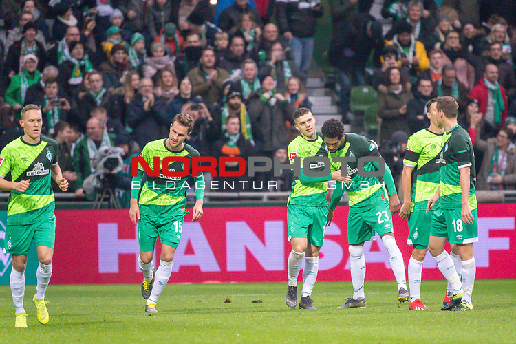 10.02.2019, Weser Stadion, Bremen, GER, 1.FBL, Werder Bremen vs FC Augsburg, <br /> <br /> DFL REGULATIONS PROHIBIT ANY USE OF PHOTOGRAPHS AS IMAGE SEQUENCES AND/OR QUASI-VIDEO.<br /> <br />  im Bild<br /> <br /> 1:0 Milot Rashica (Werder Bremen #11) <br /> Max Kruse (Werder Bremen #10)<br /> Ludwig Augustinsson (Werder Bremen #05)<br /> Sebastian Langkamp (Werder Bremen #15)<br /> Theodor Gebre Selassie (Werder Bremen #23)<br /> Niklas Moisander (Werder Bremen #18)<br /> Davy Klaassen (Werder Bremen #30)<br /> <br /> <br /> <br /> jubel <br /> Foto &copy; nordphoto / Kokenge