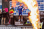 The final podium in Roubaix Velodrome, winner Philippe Gilbert (BEL), 2nd Nils Politt (GER) Team Katusha Alpecin and 3rd Belgian Champion Yves Lampaert (BEL) Deceuninck-Quick Step at the end of the 117th edition of Paris-Roubaix 2019, running 257km from Compiegne to Roubaix, France. 14th April 2019<br /> Picture: Thomas van Bracht/PelotonPhotos.com | Cyclefile<br /> All photos usage must carry mandatory copyright credit (&copy; Cyclefile | Thomas van Bracht/PelotonPhotos.com)