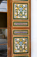 Marrakesh, Morocco.  Bahia Palace, 19th. Century.  Floral Decoration on Window Panel.