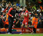 Brendan Rodgers manager of Liverpool talks to Jordan Henderson of Liverpool - English Premier League - Liverpool vs Manchester City - Anfield Stadium - Liverpool - England - 3rd March 2016 - Picture Simon Bellis/Sportimage