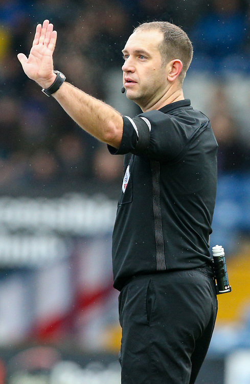 Referee Jeremy Simpson<br /> <br /> Photographer Alex Dodd/CameraSport<br /> <br /> The EFL Sky Bet League One - Bury v Blackpool - Saturday 3rd February 2018 - Gigg Lane - Bury<br /> <br /> World Copyright &copy; 2018 CameraSport. All rights reserved. 43 Linden Ave. Countesthorpe. Leicester. England. LE8 5PG - Tel: +44 (0) 116 277 4147 - admin@camerasport.com - www.camerasport.com
