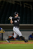 AZL White Sox left fielder Alex Destino (18) follows through on his swing after hitting a home run against the AZL Cubs on August 13, 2017 at Sloan Park in Mesa, Arizona. AZL White Sox defeated the AZL Cubs 7-4. (Zachary Lucy/Four Seam Images)
