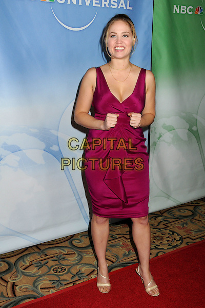 ERIKA CHRISTENSEN .NBC Universal Press Tour Cocktail Party held at the Langham Hotel, Pasadena, California, USA, 10th January 2010..full length pink sleeveless dress hands  gesture sandals cream beige magenta .CAP/ADM/BP.©Byron Purvis/AdMedia/Capital Pictures.