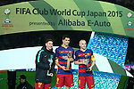 (L-R) Lionel Messi, Luis Suarez, Andres Iniesta (Barcelona), <br /> DECEMBER 20, 2015 - Football / Soccer : <br /> FIFA Club World Cup Japan 2015 <br /> award ceremony  <br /> at Yokohama International Stadium in Kanagawa, Japan.<br /> (Photo by Yohei Osada/AFLO SPORT)