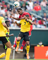 PHILADELPHIA, PA - JUNE 30: Elvis Powell #5 and Gabriel Torres #9 go up for a header during a game between Panama and Jamaica at Lincoln Financial Field on June 30, 2019 in Philadelphia, Pennsylvania.