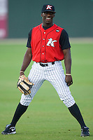 Jared Mitchell #35 of the Kannapolis Intimidators at Fieldcrest Cannon Stadium July 10, 2009 in Kannapolis, North Carolina. Mitchell was selected in the first round (23rd overall) of the 2009 First Year Player Draft by the Chicago White Sox.  (Photo by Brian Westerholt / Four Seam Images)