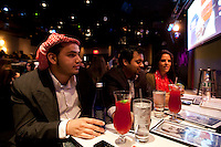 Palestinian-American from New Jersey Esmail Attiyah (L, wearing kefieh) attends the 6th Annual NY Arab-American Comedy Festival in New York, USA, 13 May 2009.