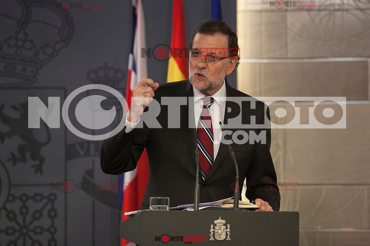 Spanish Prime Minister Mariano Rajoy during a press conference at Moncloa Palace in Madrid, Spain. Spetember 04, 2015. (ALTERPHOTOS/Victor Blanco)