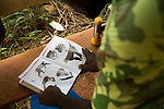 National Park guard identifying seized primate during roadblock check for illegal bushmeat, Lope National Park, Gabon