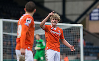 Cameron McGeehan of Luton Town has strong words with Oliver Lee of Luton Town during the Sky Bet League 2 match between Wycombe Wanderers and Luton Town at Adams Park, High Wycombe, England on 6 February 2016. Photo by Andy Rowland.
