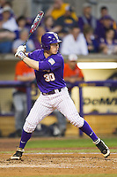 LSU Tigers shortstop Alex Bregman #30 at bat against the Auburn Tigers in the NCAA baseball game on March 23, 2013 at Alex Box Stadium in Baton Rouge, Louisiana. LSU defeated Auburn 5-1. (Andrew Woolley/Four Seam Images).