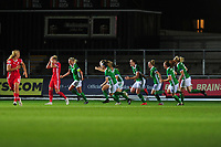 Ashley Hutton of Northern Ireland celebrates scoring her side's equalising goal to make the score 2-2 during the UEFA Womens Euro Qualifier match between Wales and Northern Ireland at Rodney Parade in Newport, Wales, UK. Tuesday 03, September 2019