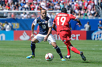 Chicago, IL - Sunday July 28, 2013:  United States forward Landon Donovan (10) defends during the CONCACAF Gold Cup Finals soccer match between the USMNT and Panama, at Soldier Field in Chicago, IL.
