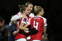 Vivianne Miedema of Arsenal (L) scores the second goal for her team and celebrates with her team mates during Arsenal Women vs Manchester United Women, FA WSL Continental Tyres Cup Football at Meadow Park on 7th February 2019