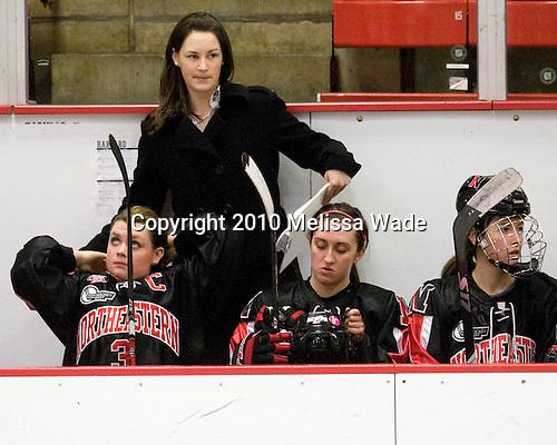 Annie Hogan (NU - 3), Lauren McAuliffe (NU - Co-Head Coach), ?, ? - The Harvard University Crimson defeated the Northeastern University Huskies 1-0 to win the 2010 Beanpot on Tuesday, February 9, 2010, at the Bright Hockey Center in Cambridge, Massachusetts.