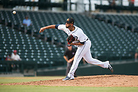 Mesa Solar Sox relief pitcher Eduardo Jimenez (66), of the Detroit Tigers organization, delivers a pitch during an Arizona Fall League game against the Peoria Javelinas at Sloan Park on October 11, 2018 in Mesa, Arizona. Mesa defeated Peoria 10-9. (Zachary Lucy/Four Seam Images)