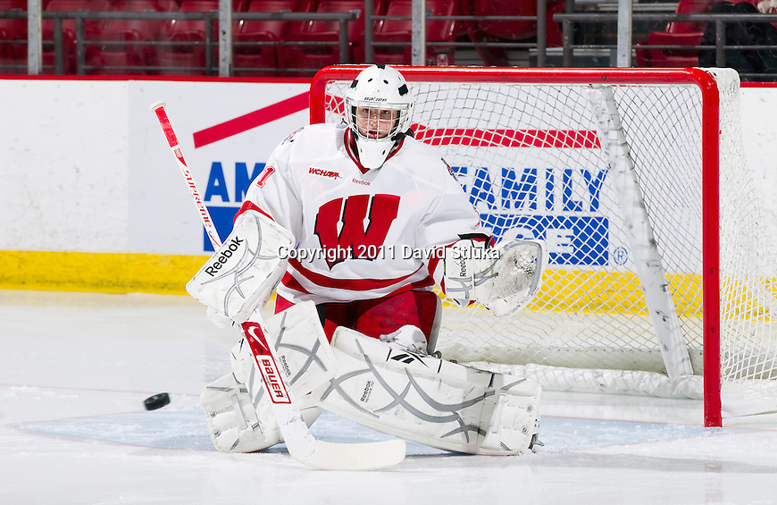 Wisconsin Badgers goalie Ilana Friedman (1) during warmups prior to an NCAA women's hockey game against the Minnesota Golden Gophers on October 14, 2011 in Madison, Wisconsin. The Badgers won 3-2. (Photo by David Stluka)