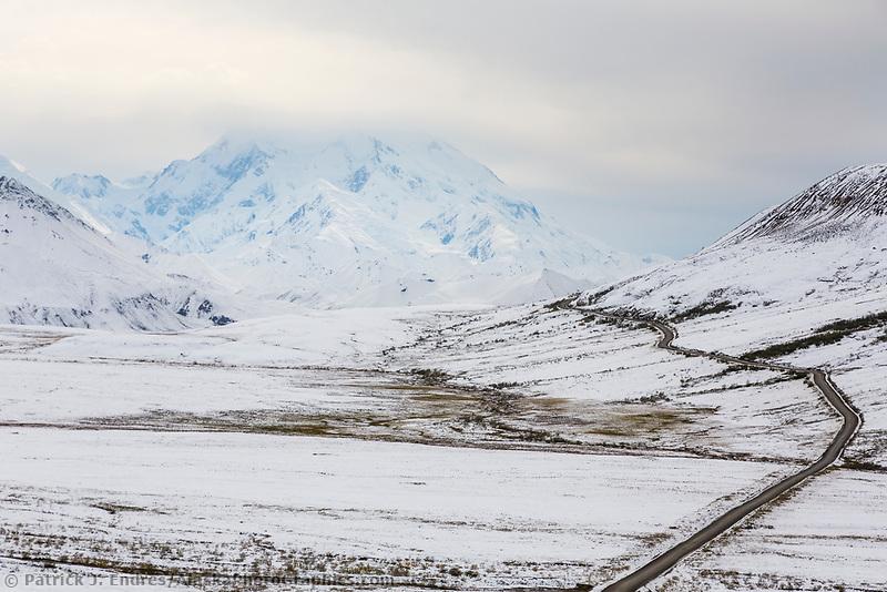 Fresh snow on the tundra along the Denali Park Road, Denali National Park, Interior, Alaska