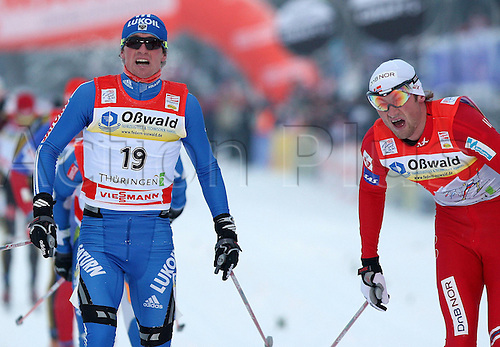02 01 2010  Ski Nordic FIS WC Oberhof Tour de Ski Oberhof Germany 02 Jan 10 Ski Nordic Cross-country skiing FIS World Cup Tour de Ski 15km classic men Picture shows Maxim Vylegzhanin RUS and Petter Northug NOR .