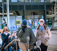 """Hardy visitors in Bryant Park in New York on Tuesday, January 7, 2014 as the """"polar vortex"""" arrives in the city bringing with it record cold temperatures as low as four degrees. Arctic cold air arrived in the city with below zero wind chills and officials are recommending staying indoors and if you have to go out dress in layers. The city has activated the Winter Weather Emergency Plan where senior centers will close after lunch, the Dept. of Homeless Services will double its outreach program, and high-risk clients will be visited by social services among the coordinated city actions. (© Richard B. Levine)"""