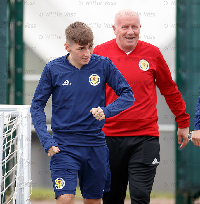 02.09.2019 Scotland u-21 training, Oriam, Edinburgh.<br /> Billy Gilmour of Chelsea arrives for training with coach Peter Houston ahead of the upcoming UEFA European Under-21 Championship Qualifier against San Marino this Thursday evening in Paisley.