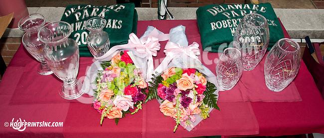 trophies before The Delaware Oaks (gr 2) at Delaware Park on 7/13/13