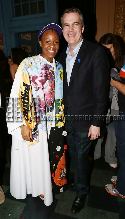 Thomas Carpenter – AEA Eastern Regional Director and Anastacia McCleskey during the Opening Night Broadway AEA Gypsy Robe Ceremony honoring Anastacia McCleskey for 'Violet'  at The American Airlines Theatre on April 20, 2014 in New York City.