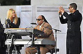 "Washington, DC - January 18, 2009 -- Usher, left, Stevie Wonder, center, and Shakira, right, perform at the ""Today: We are One - The Obama Inaugural Celebration at the Lincoln Memorial"" in Washington, D.C. on Sunday, January 18, 2009..Credit: Ron Sachs / CNP.(RESTRICTION: NO New York or New Jersey Newspapers or newspapers within a 75 mile radius of New York City)"
