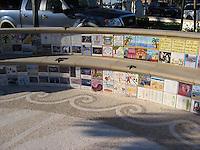 Corona Del Mar mosaic medallion in tumbled marble. Located in Corona Del Mar, CA.