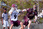 Los Angeles, CA 03/08/10 - Travis Abraham (LMU # 9) and Josh Eustice (FSU # 17) in action during the Florida State-LMU MCLA interconference men's lacrosse game at Leavey Field (LMU).  Florida State defeated LMU 12-7.